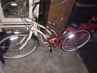 white and red cruiser bike