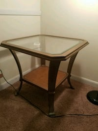 brown wooden framed glass top table Marietta