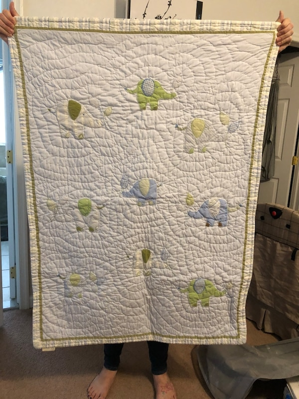Used Pottery Barn Baby Elephant Quilt For Sale In Galloway
