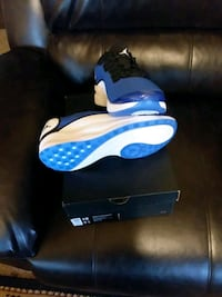 blue-and-white Nike Air Max shoes 358 mi