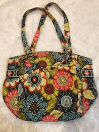 red, blue, and green floral tote bag 604 mi