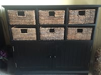 black wooden cabinet with storage shelves