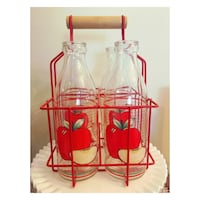 Large vintage set of 4 juice jugs and carrier  Toronto, M5C