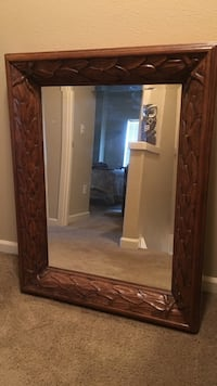 Rectangular mirror with brown wooden frame Washougal, 98671