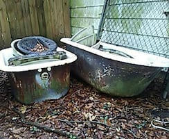 2 antique clawfoot tubs
