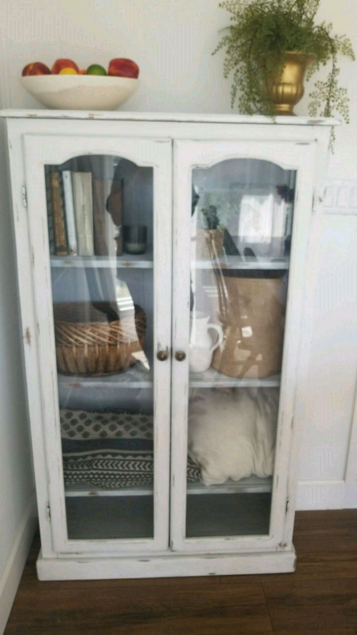Antique Chalk Painted Farmhouse China Cabinet