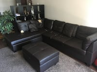 Chocolate Brown sectional sofa with ottoman Toronto, M9C 4W1