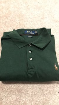 Polo Ralph Green Long Sleeve Polo (Medium Classic Fit) Fairfax, 22032