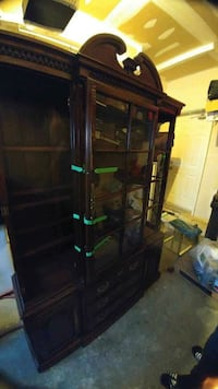brown wood and clear glass china cabinet Mississauga