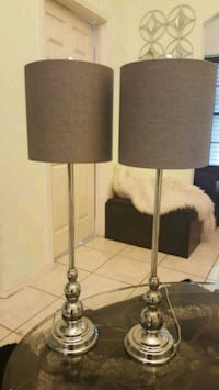 two gray metal base with beige lampshade table lamps McAllen, 78504