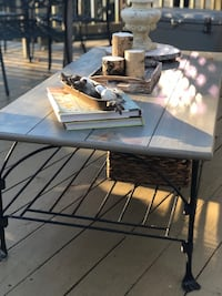 Beautiful weathered gray wood and wrought iron coffee table  Centreville, 20120
