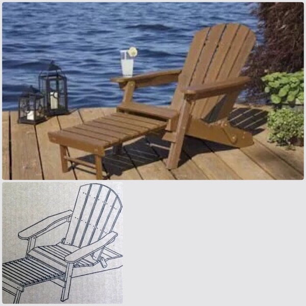 Enjoyable Lifetime Adirondack Chair With Ottoman Chaise Longue Machost Co Dining Chair Design Ideas Machostcouk