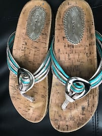 Pair of brown-and-blue sandals Brampton, L6S 5T9