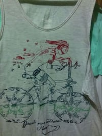 grey and red man riding bicycle tank top Chicago, 60609