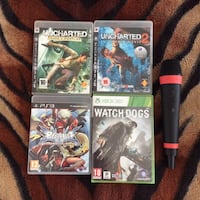 PS3 BlazBlue Continuum Shift, Uncharted 1 og 2, singstar mikrofon til Playstation 3 \PS3. Watch dogs xbox360 er helt nytt spill. Samlet 200kr fire Sony PS3 og Xbox 360 spill tilfelle Oslo, 0366