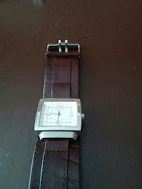 square silver Fossil analog watch with brown leath