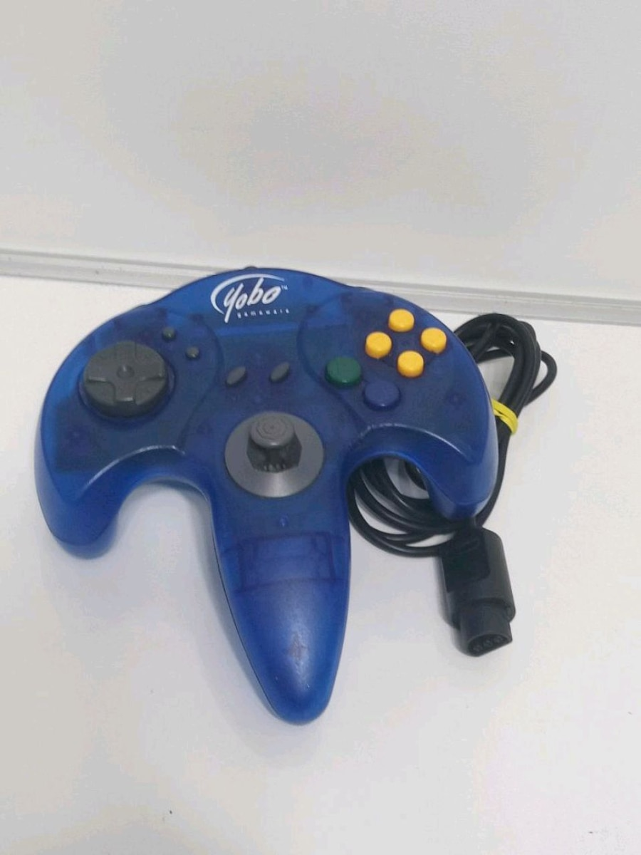 Photo Yobo N64 Blue Wave Clear Controller Works Replacement Only Nintendo 64