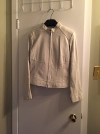 Real leather white zip up jacket