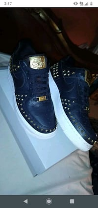 black and gold star studed air force 1's St. Petersburg
