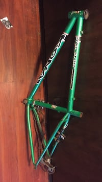 Green bicycle frame