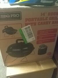 """14"""" black Round Portable Grill With Carry Bag box"""
