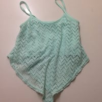 women's teal spaghetti strap lace crop top Burnaby, V3J