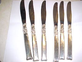 Six Heirloom Sterling Silver Knives Silver Rose