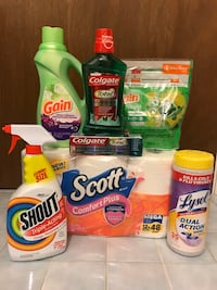 Brand new Household bundle with Gain flings, Gain softener, Scott toilet tissue, Colgate toothpaste and mouthwash, Shout and Lysol wipes Concord, 94518