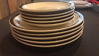 round white-and-black ceramic plates and saucers Ashburn, 20147