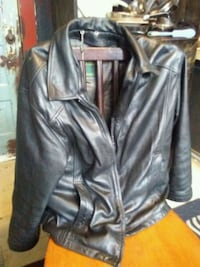 black leather zip-up jacket Vancouver, V6Z 1W1