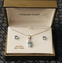 Sky Blue Topaz Sterling Silver  3.00 CTW Earrings & Pendant w/18 inch chain Macon, 31204