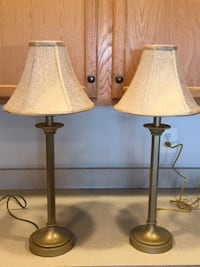 Lamps Set of Gold Buffet Style Lamps with Fabric Rose/Gold Textured Lamp Shades  Lansdowne