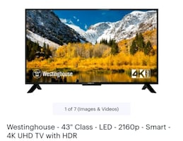 "Westinghouse 4K Ultra HD 43"" TV"