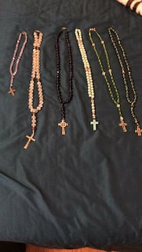 Pink and clear and clear and pink, black and blue, teal and silver, and green and clear rosary  Lubbock, 79403