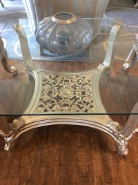 Beautiful glass top carved table