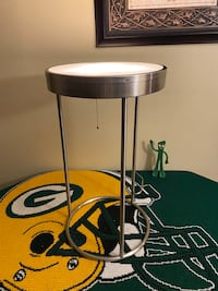 Silver Round Lamp Top End Table.