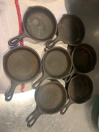 "Set of 20 4"" cast iron pans"