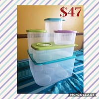 white and green plastic container Aurora, 80013