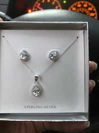 Beautiful sterling silver raindrop earrings and necklace .  Temple City, 91780
