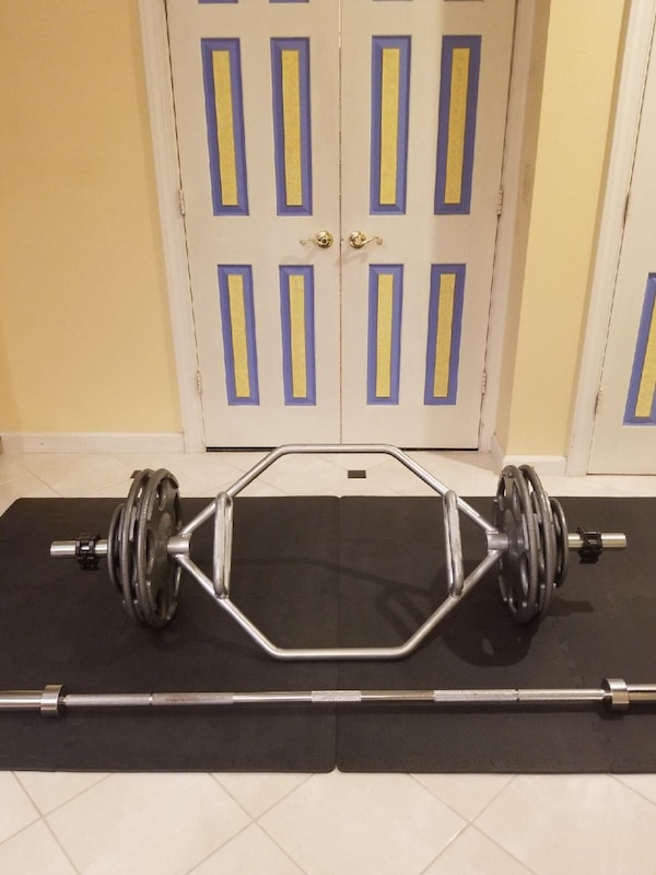 Hex bar and straight bar with weights