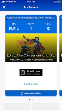 Selling 1/2 front row Logic tickets Toronto, M3N