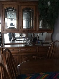 brown wooden framed glass display cabinet Edmonton, T5A 1S3