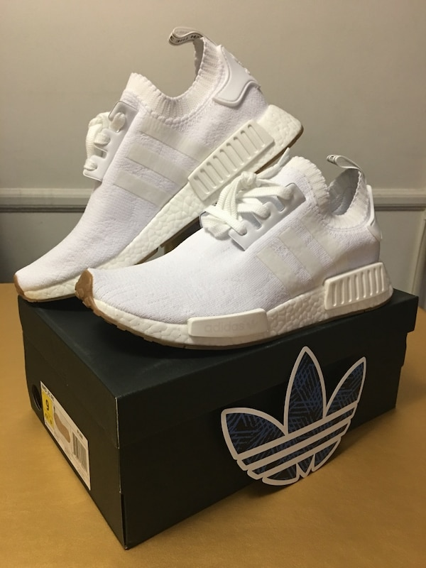 a9d34d44a Used NMD R1 Primeknit White Gum Bottom Sole Adidas Mens Size  US 9 ...