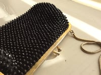 Vintage Black Beaded Clutch / Purse With Chain Vancouver