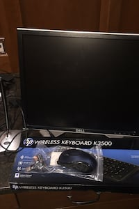 Dell Monitor, Wireless Keyboard, Wireless Mouse, Microphone