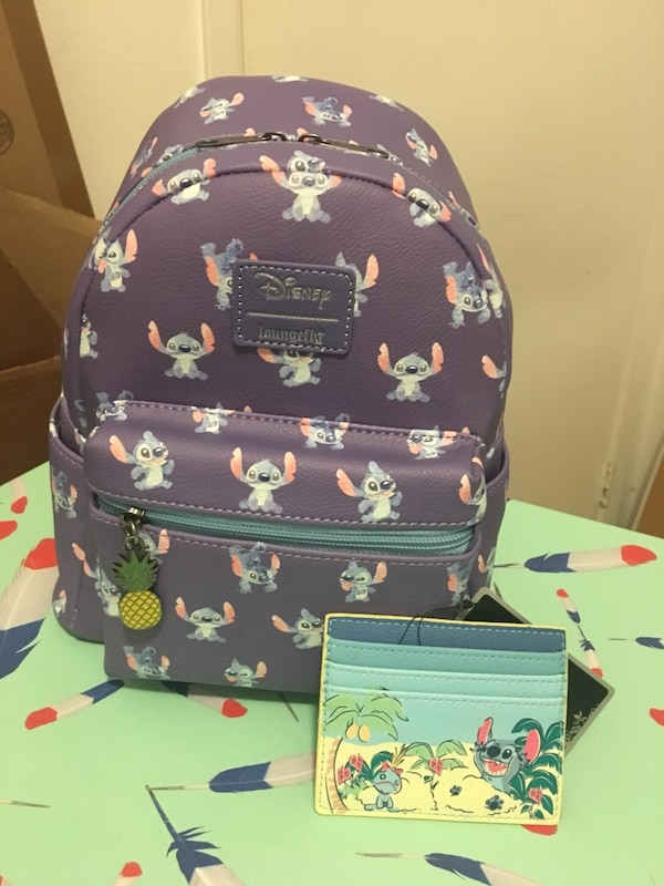 1c0f6592ed2e Used Loungefly Stitch Backpack Cardholder Lot Disney for sale in San ...
