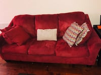 Red suede 3-seat sofa