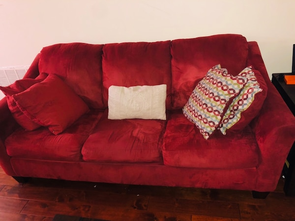 Red suede 3-seat sofa e2137607-70be-4935-ad9b-691a02726b0f