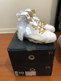 white-and-yellow Air Jordan 6 shoes Lauderhill, 33319