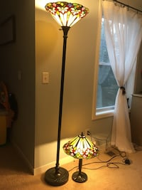 Tiffany style tall lamp and table lamp